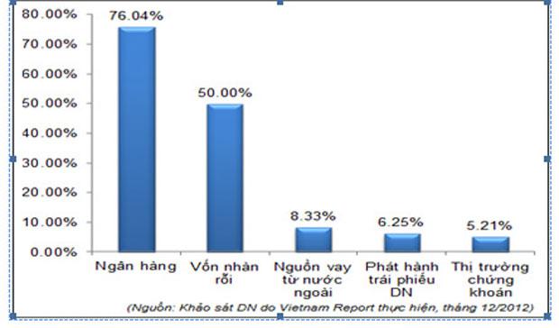 Biểu đồ huy động vốn của một doanh nghiệp năm 2013